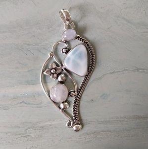 Jewelry - Beautiful Larimar moonstone stamped pendant